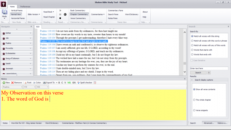 Shalom Bible Study Tool interface 3