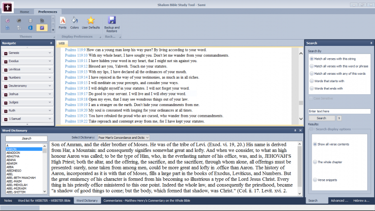 Shalom Bible Study Tool interface 5