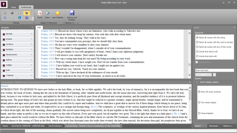 Shalom Bible Study Tool interface 6